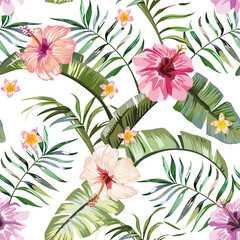 Fototapeta Do sypialni Tropical flowers composition white background seamless