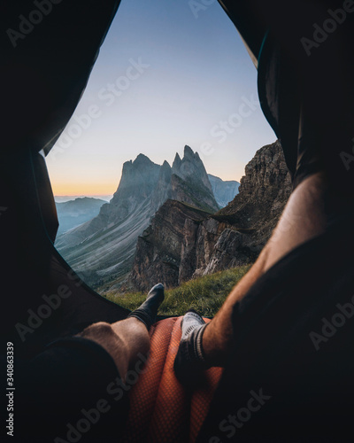 Tenting in the Italian alps Wall mural