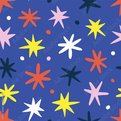 Photo Doodle stars background, cute scribble drawing for kids and babies, scandinavian naive art, seamless vector pattern, good as wrapping paper or print for christmas