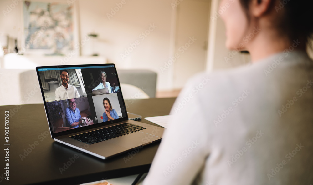 Fototapeta Family meeting online over a video call