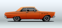 Orange Muscle Car, View From Side With Perspective, Vector Illustration.