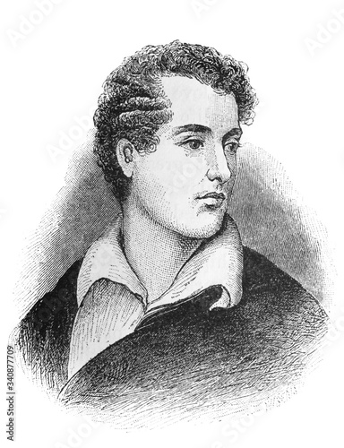 Slika na platnu The Lord Byron (George Gordon Byron)'s portrait, an English poet, peer and politician who became a revolutionary in the old book the Great Authors, by W