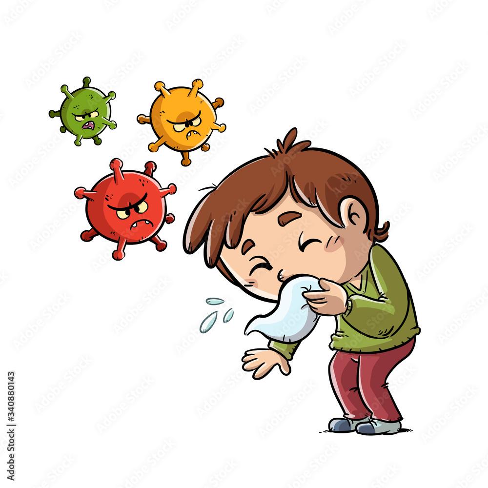 Fototapeta kid sneezing and spreading virus