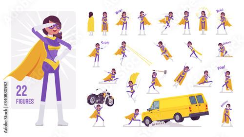 Cuadros en Lienzo Female super hero in bright costume character set