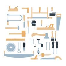 Woodwork Tool Kit. Set Of Hand...
