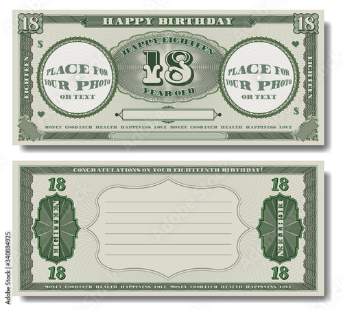 Green Banknote of 18 Tableau sur Toile