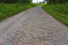 Cobblestone Road Outside The City, Old German Road In The Forest