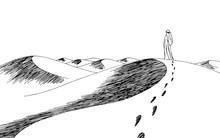 Human Walking In The Desert Graphic Black White Landscape Sketch Illustration Vector