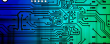 Circuit Board Background. Blue-green Background, Empty Circuit Board Painted In Green-blue Background