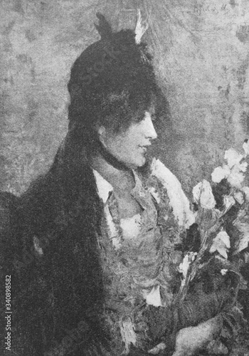Fototapeta The portrait of woman by Alfred Stevens a Belgian painter, known for his paintings of elegant modern women in the old book the History of Painting, by R. Muter, 1887, St. Petersburg obraz na płótnie