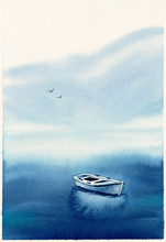 Watercolor Illustration With Sea, Boat. Hand Drawn Picture About Fishing, Foggy Morning, Calmness, Peaceful, Seaside Landscape. Blue Painted Background. Postcard In Watercolor Style. Wet Technique