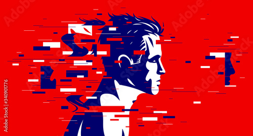 Canvas-taulu Man profile with glitch dynamic particles in motion vector illustration, mindfulness philosophical and psychological theme, neural network, technology or psychology concept