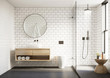 Leinwanddruck Bild 3d modern Scandinavian bathroom with white tiles round mirror and shower