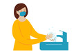 Girl washes her hands. Coronavirus Protection. Vector Concept illustration in flat cartoon style.