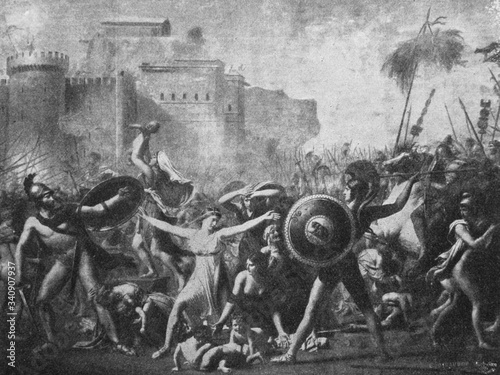 The Intervention of the Sabine Women by the French painter Jacques-Louis David in the old book the History of Painting, by R Canvas Print
