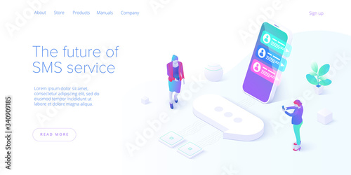 Cuadros en Lienzo SMS or Messaging service concept in isometric vector illustration
