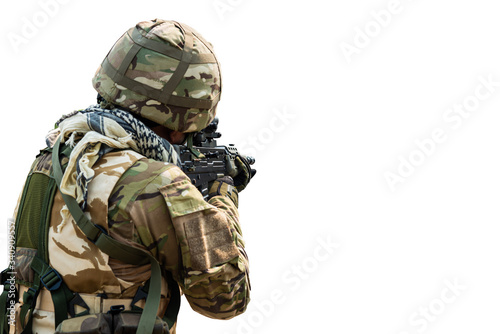 Special Forces soldier in combat uniforms aiming gun rifle to attack enemy, Conc Canvas Print