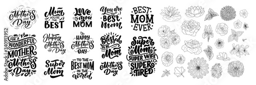 Fényképezés Set of Mother's day lettering and outline flowers for gift card