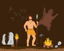 Hunting Character Male Primitive Age, Wildlife Ancient Time Flat Vector Illustration. Man Stand With Prehistoric Spear Old Cave, Simplistic Wall Drawing And Skin Bear Floor Bonfire, Fish Food.