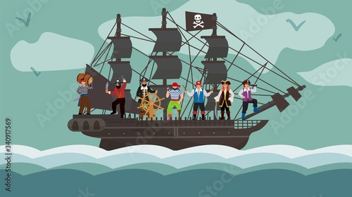 Cuadros en Lienzo Pirate ship team trip on boat flat vector illustration