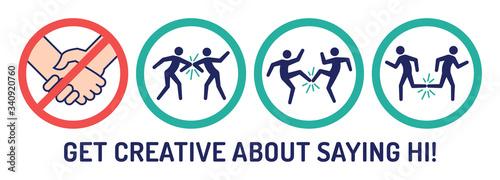 Fotografie, Obraz no handshake set icon sign coronavirus infographics vector illustration