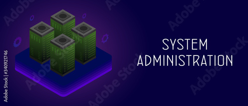 Photo System administrators or IT sysadmin horizontal banner with server racks