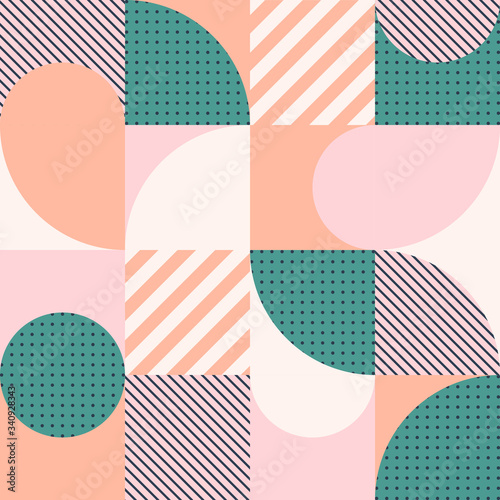 Colorful geometric seamless pattern in Scandinavian style. Abstract vector background with simple shapes and textures.