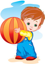 Little Boy Hugs A Big Ball, Ve...