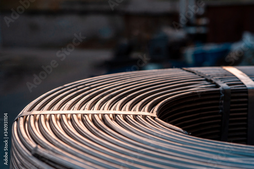 Foto Roll of metallurgical cored wire close up
