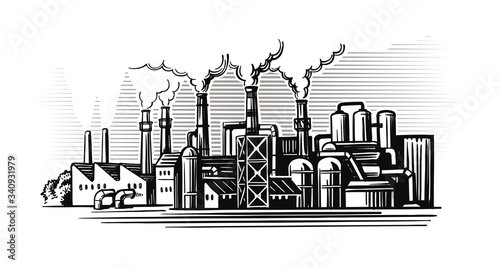 Fototapeta large smoking factory in sketch style obraz