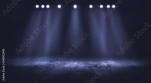 Obraz Dark stage with spotlight background. - fototapety do salonu