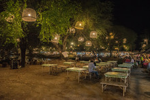 The Dinner Table Is Near River At Ayutthaya Night Market.