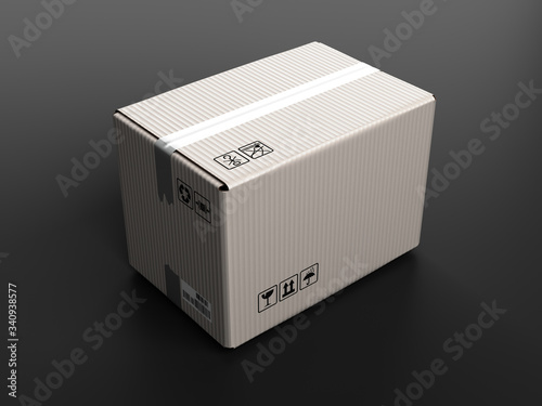 Obraz clear white cardboard delivery box 3d render on darck background - fototapety do salonu