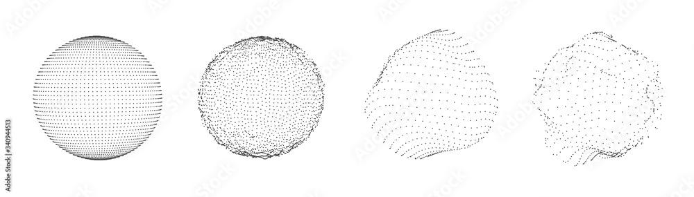Fototapeta Sphere of dots or particles isolated on white color. Technology abstract art background. Collection of minimalistic geometric design sci-fi elements. Vector futuristic digital concept.