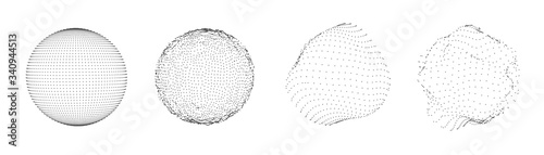 Cuadros en Lienzo Sphere of dots or particles isolated on white color
