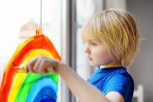 Little Boy Drawing On Window R...