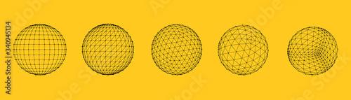 Set of polygon mesh sphere Fotobehang