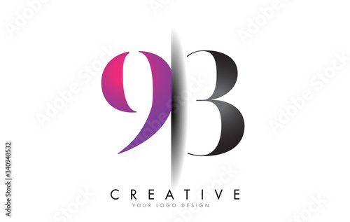 Fotografie, Obraz 93 9 3 Grey and Pink Number Logo with Creative Shadow Cut Vector.