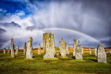 Callanish Standing Stones Against Rainbow
