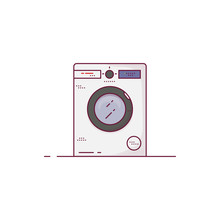 Modern Washing Machine Vector. New White Wash Machine With Display And Glass Door. Outline Vector Image. House Appliances Line Style Vector Illustration. Pixel Perfect Vector.