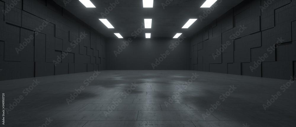 Fototapeta 3d rendering of a futuristic dark concrete underground space with lights