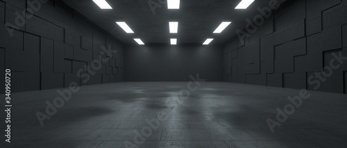 Fototapeta 3d rendering of a futuristic dark concrete underground space with lights obraz