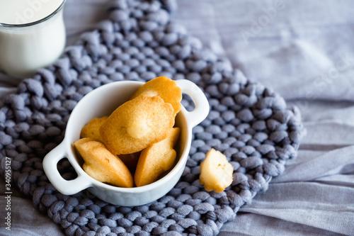 Madeleines miniatures fait maison dans un bol blanc et fond en laine gris Canvas-taulu