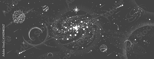Fototapeta Vector illustration of astrology background. Outer space and planets obraz