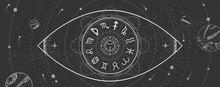 Astrology Wheel With Zodiac Si...