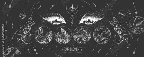 Modern magic witchcraft card with solar system, four elements and fortune teller eyes Tapéta, Fotótapéta