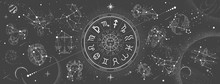 Astrology Wheel With Zodiac Si...