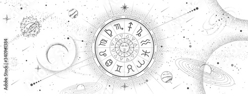 Obraz Astrology wheel with zodiac signs on outer space background. Star map. Horoscope vector illustration - fototapety do salonu