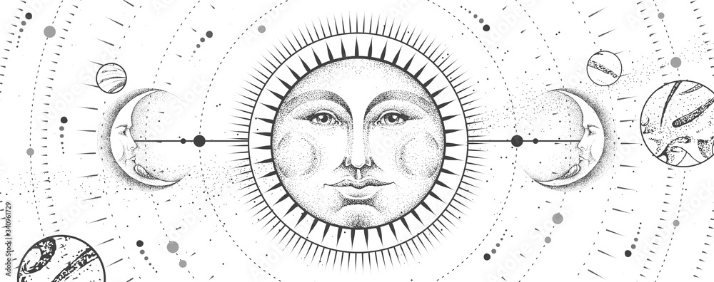 Fototapeta Modern magic witchcraft card with astrology sun and moon sign with human face on outer space background. Day and nignt. Realistic hand drawing vector illustration