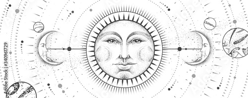 Obraz Modern magic witchcraft card with astrology sun and moon sign with human face on outer space background. Day and nignt. Realistic hand drawing vector illustration - fototapety do salonu